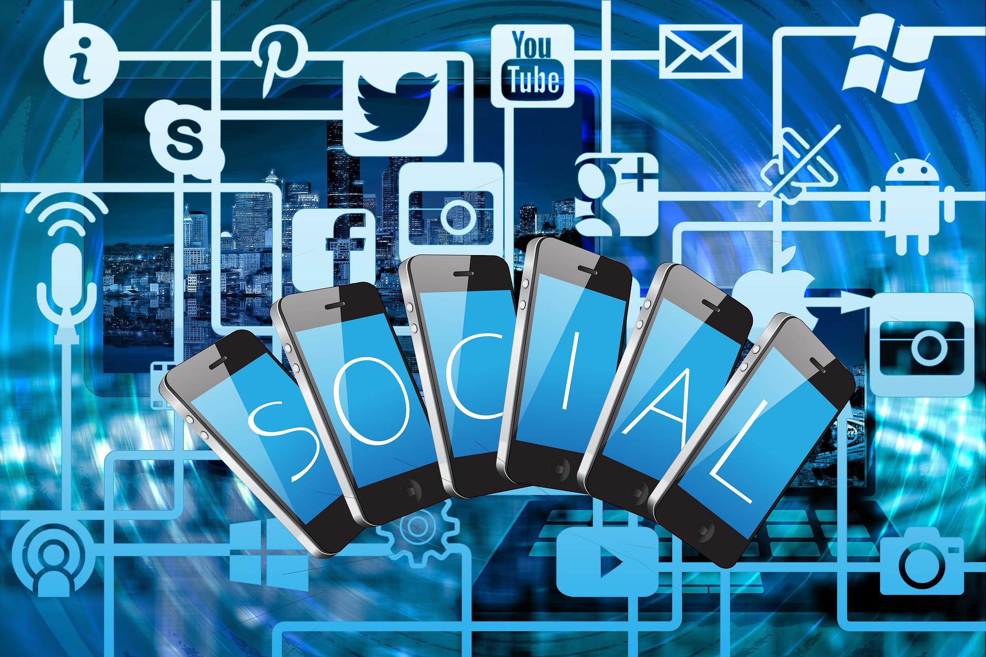 Social Media Netzwerk und Handys